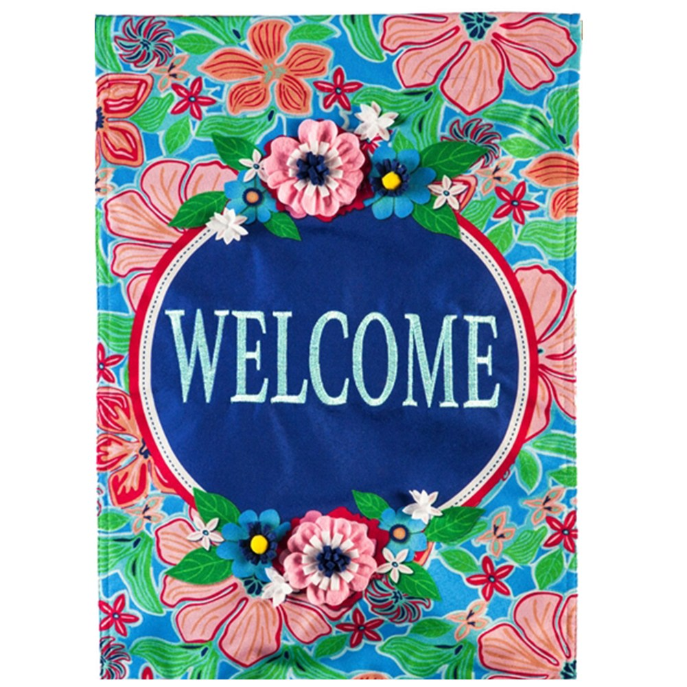Flower Garden Welcome Linen Double Sided House Flag