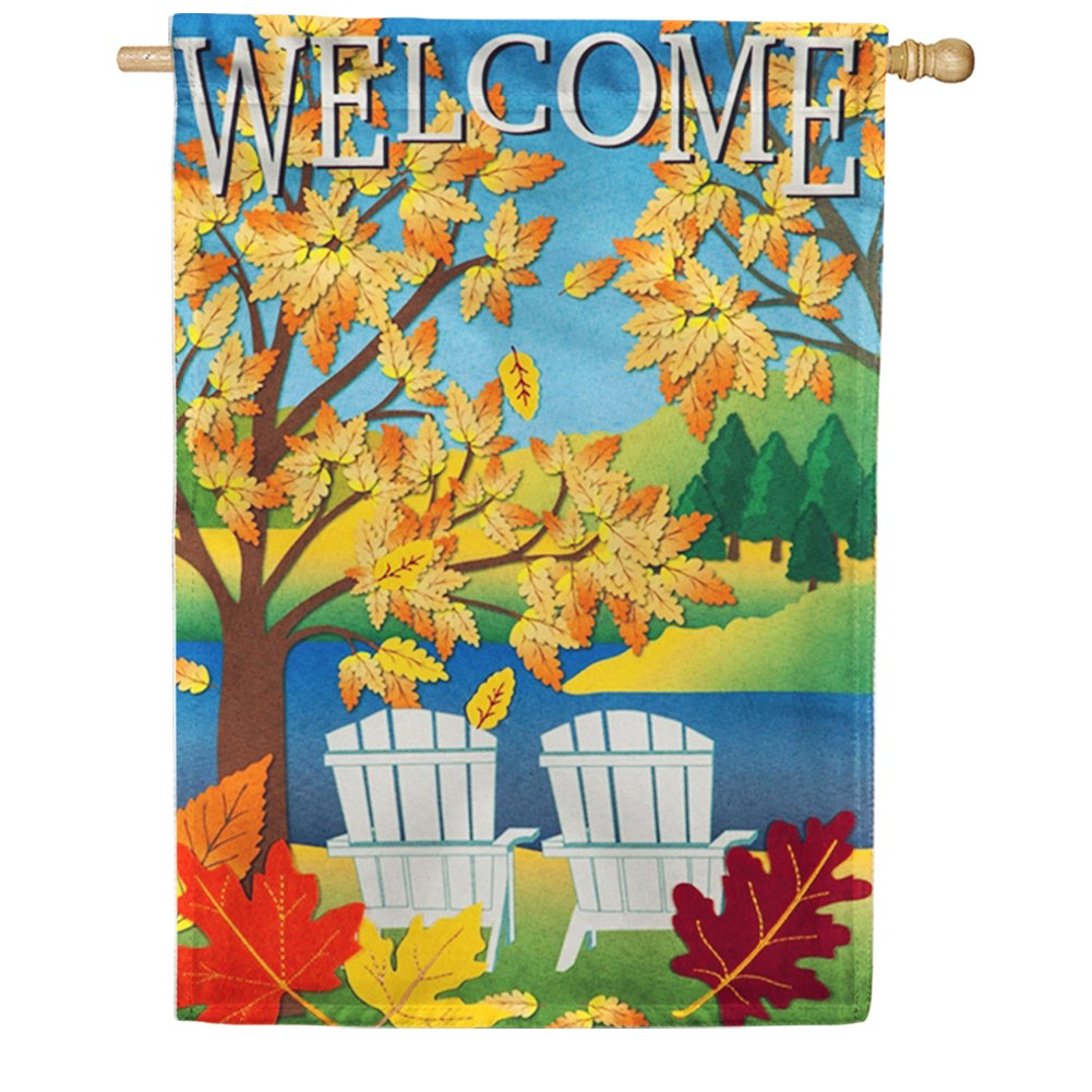 Fall Adirondacks Linen House Flag