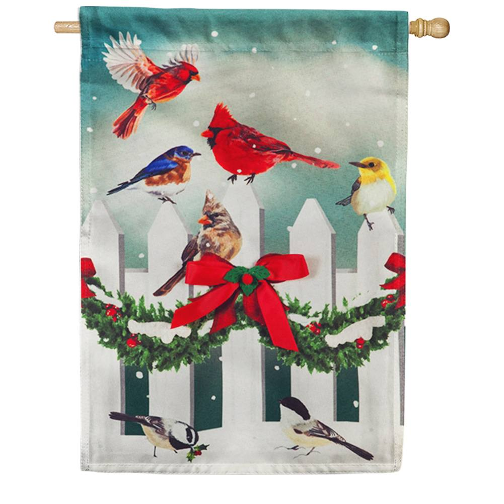 Winter Fence Birds Linen House Flag