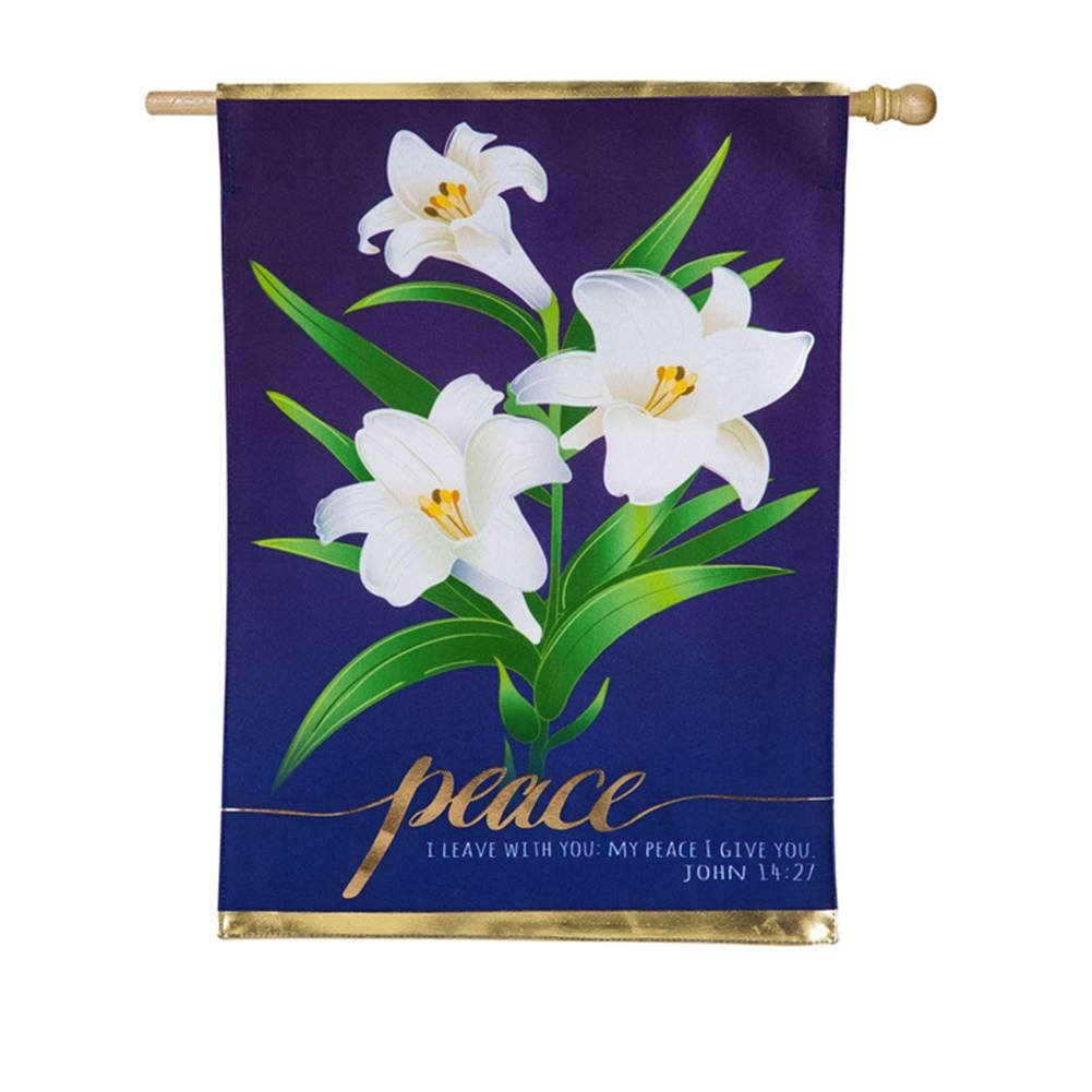 Easter Lillies Linen Double Sided House Flag