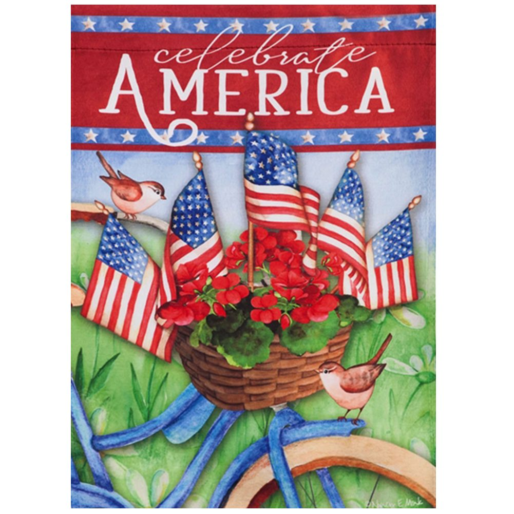 Celebrate America Bicycle Double Sided House Flag