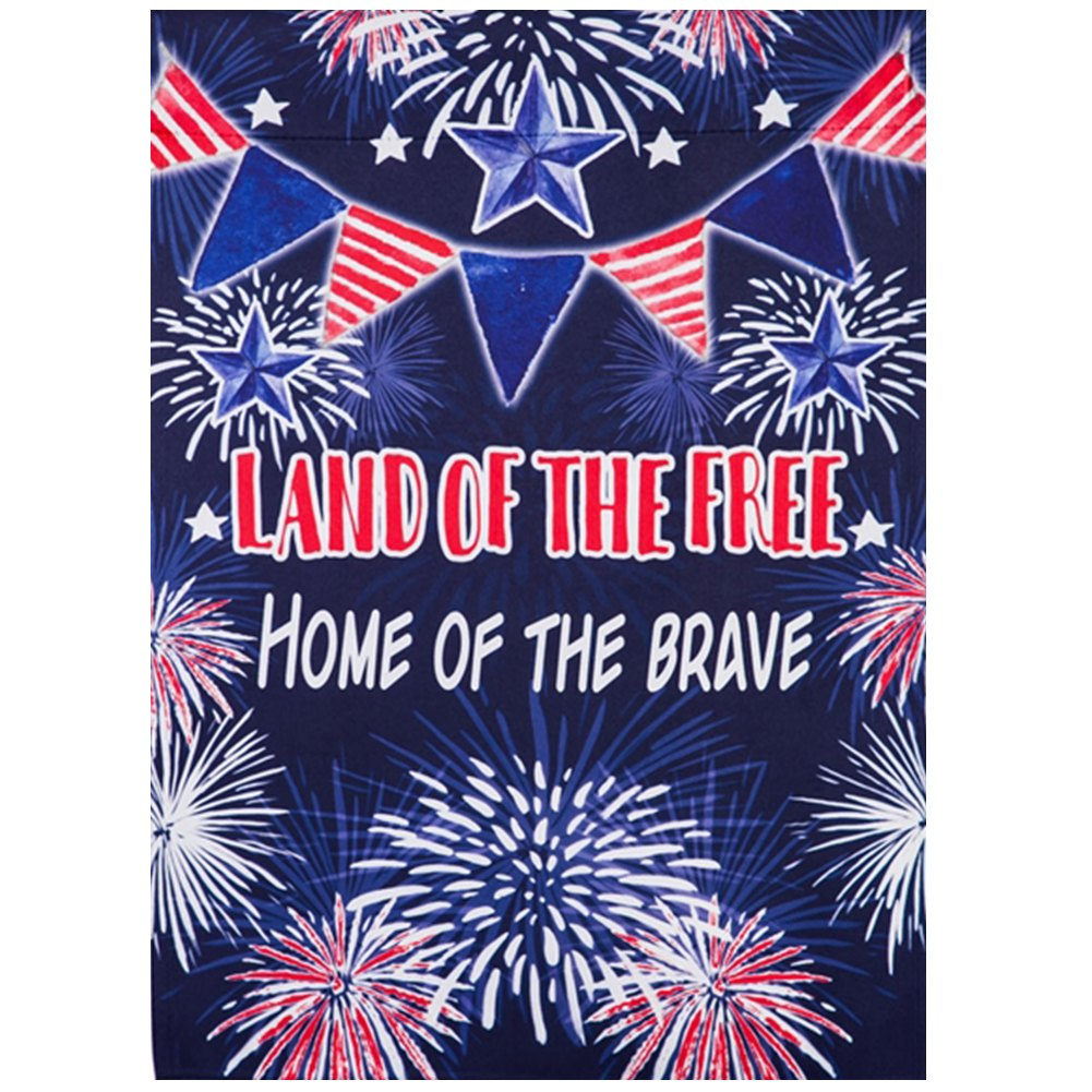 Land of the Free Fireworks Double Sided House Flag