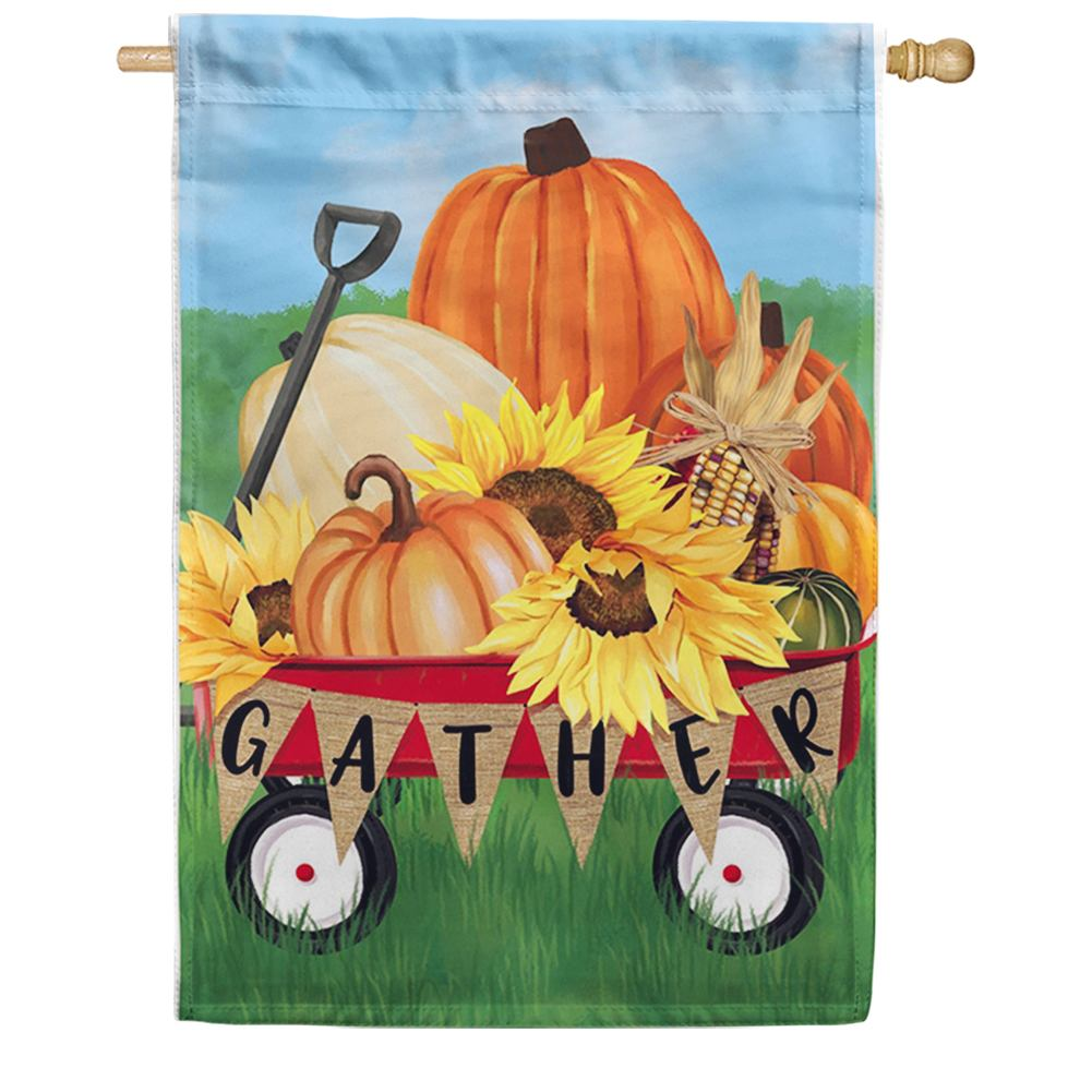 Gather Harvest Wagon House Flag