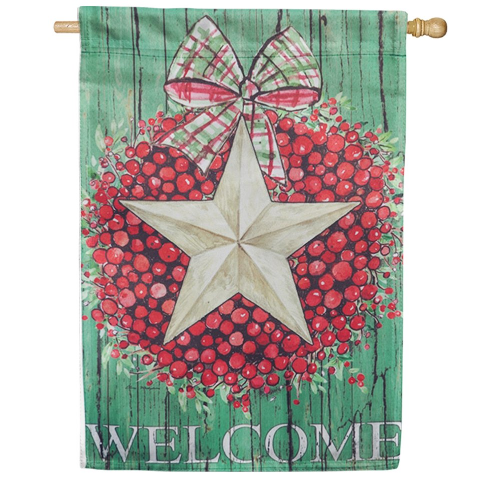 Berry Star Wreath House Flag