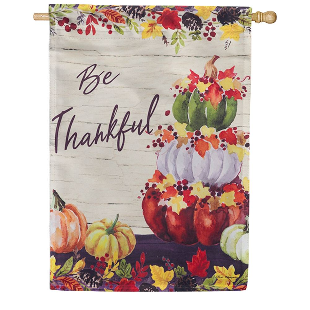 Be Thankful Pumpkin Stack House Flag