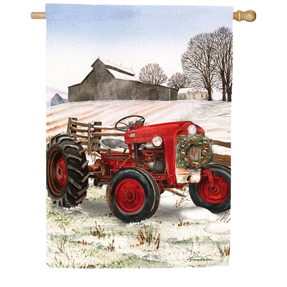 Winter Red Tractor House Flag