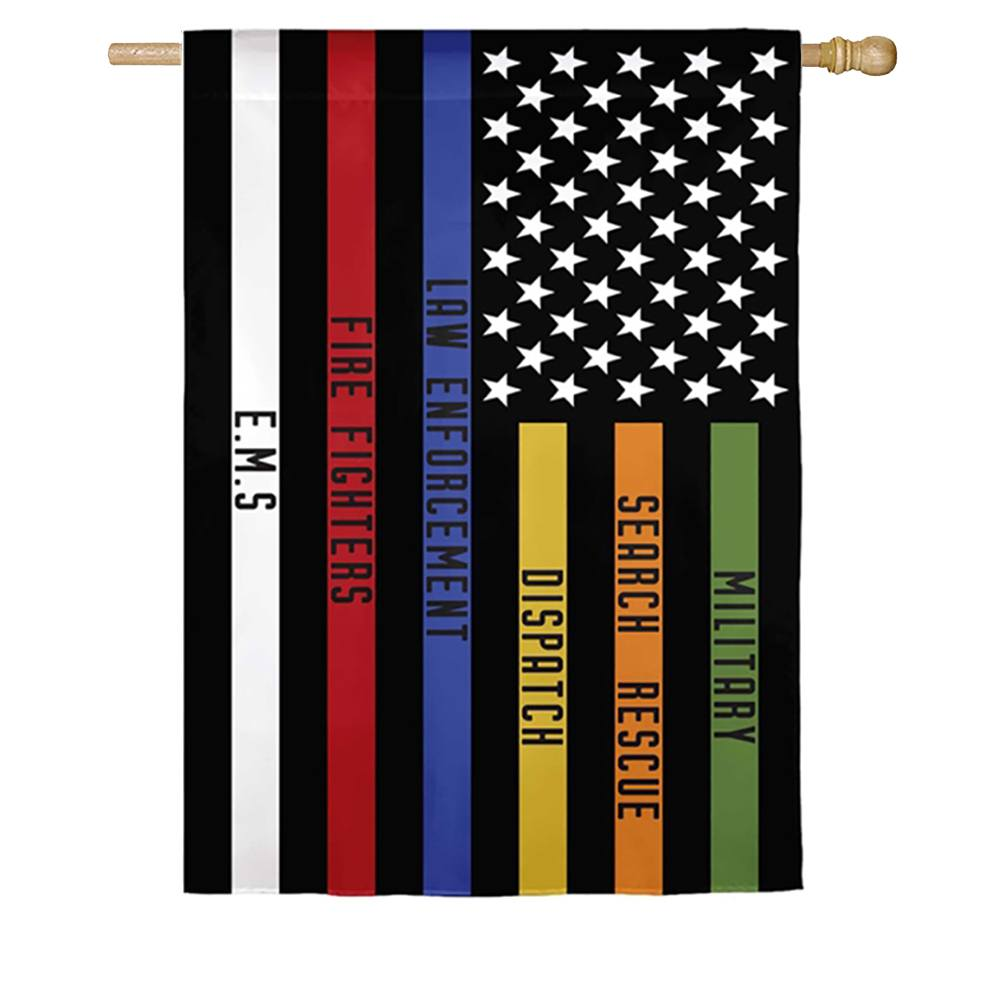 Responders Thin Line Double Sided House Flag
