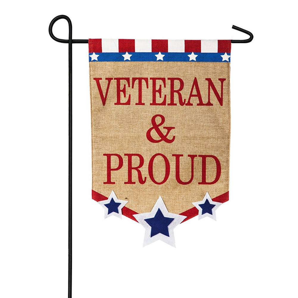 Veteran & Proud Burlap Double Sided Garden Flag