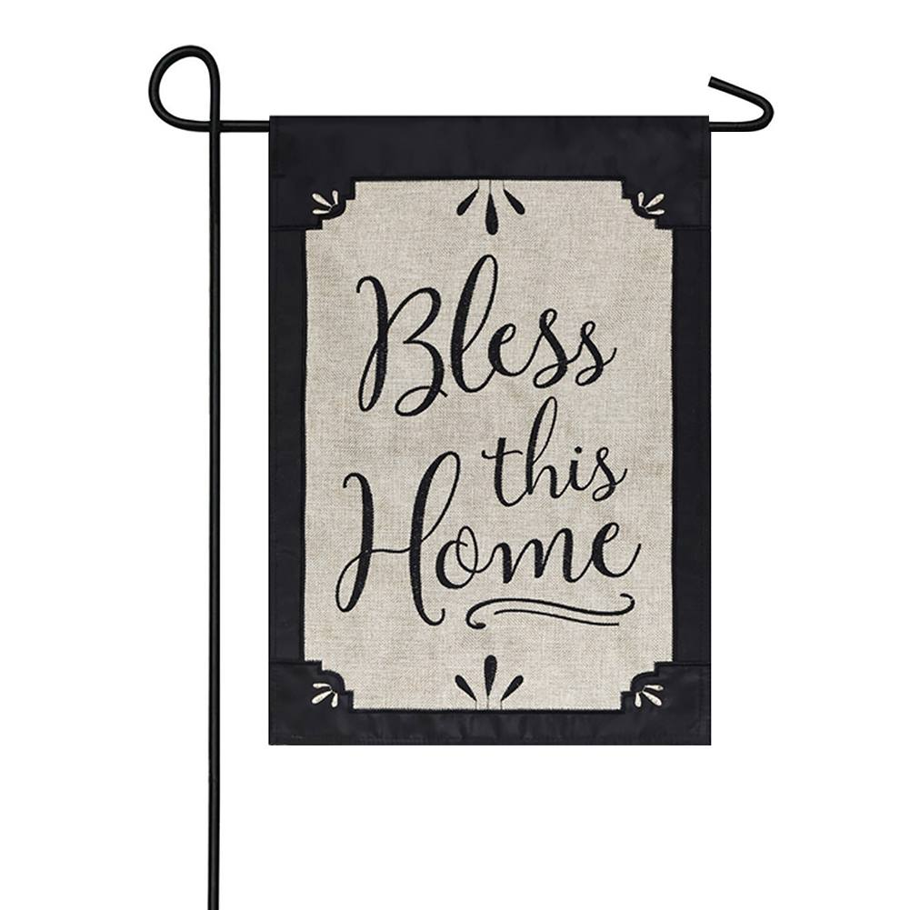 Bless This Home Black & White Burlap Double Sided Garden Flag