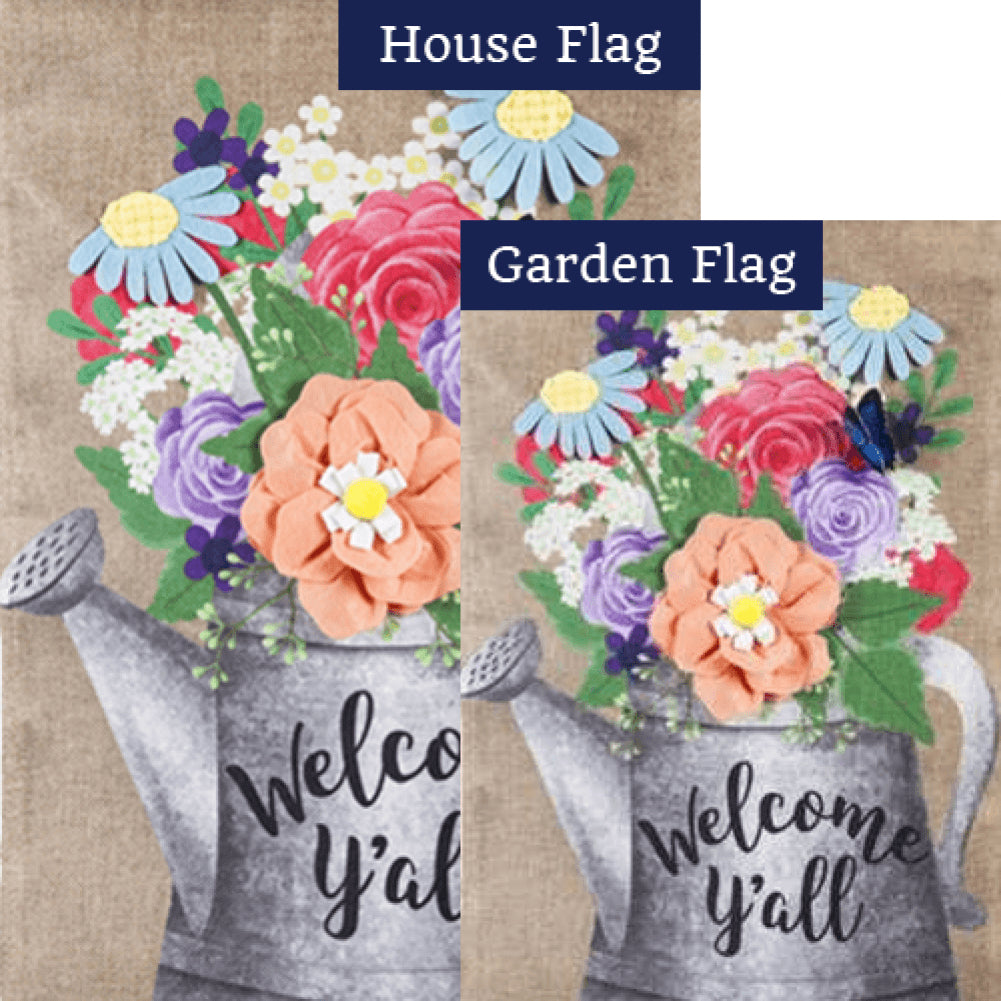 Welcome Y'All Watering Can Burlap Flags Set (2 Pieces)