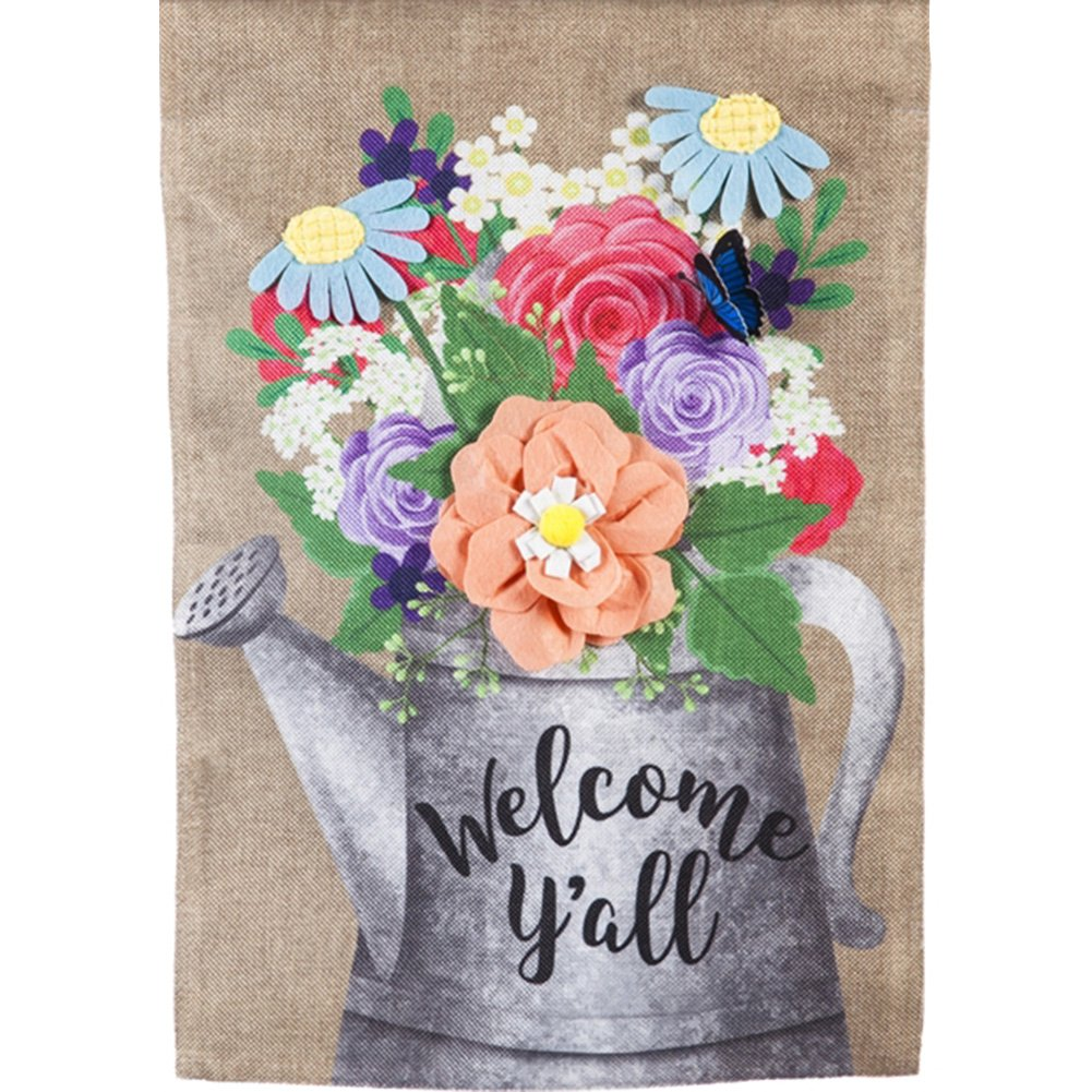 Welcome Y'All Watering Can Burlap Garden Flag