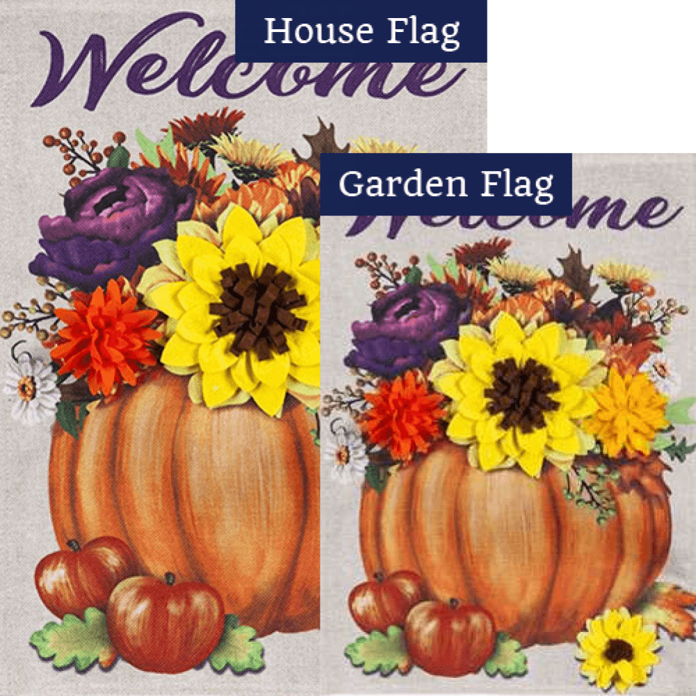 Floral Pumpkin Burlap Flags Set (2 Pieces)