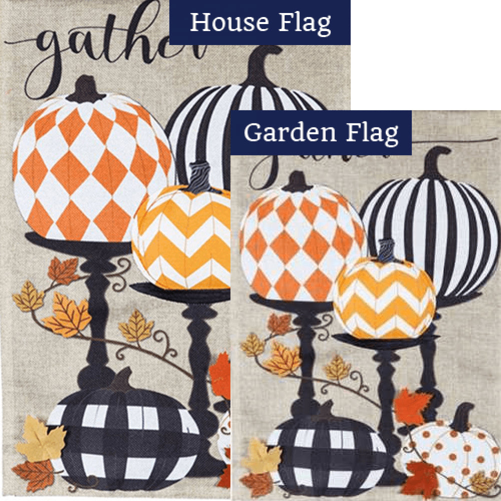 Gather Pattern Pumpkins Burlap Flags Set (2 Pieces)