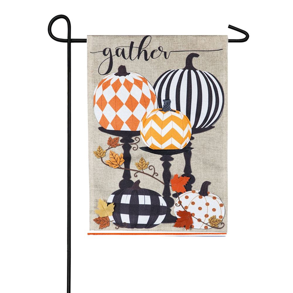 Gather Pattern Pumpkins Burlap Garden Flag