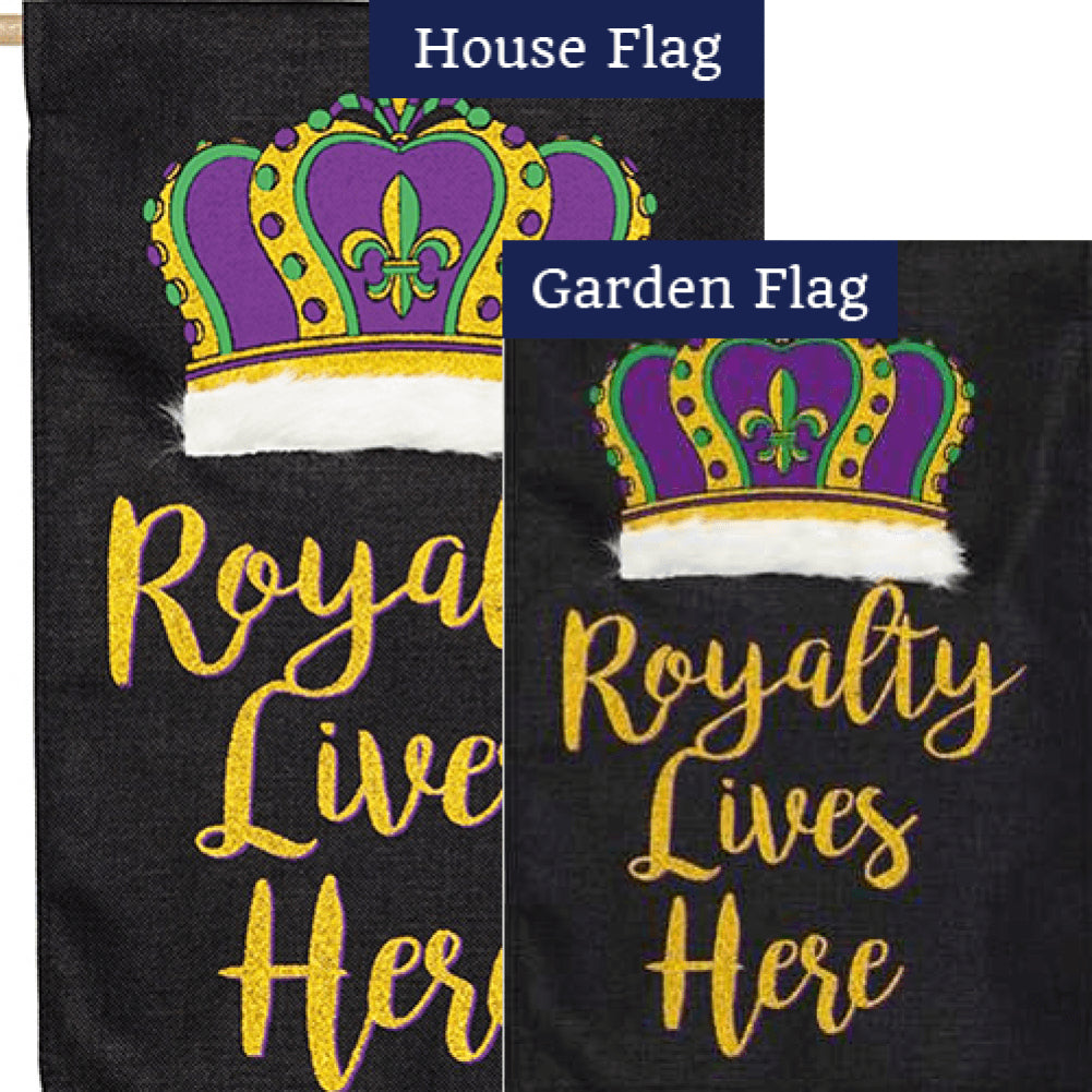 Royalty Lives Here Burlap Flags Set (2 Pieces)
