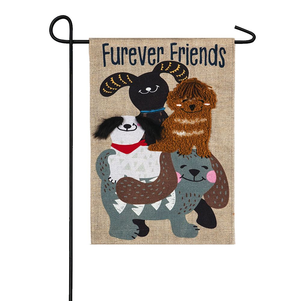 Furever Dog Friends Burlap Garden Flag