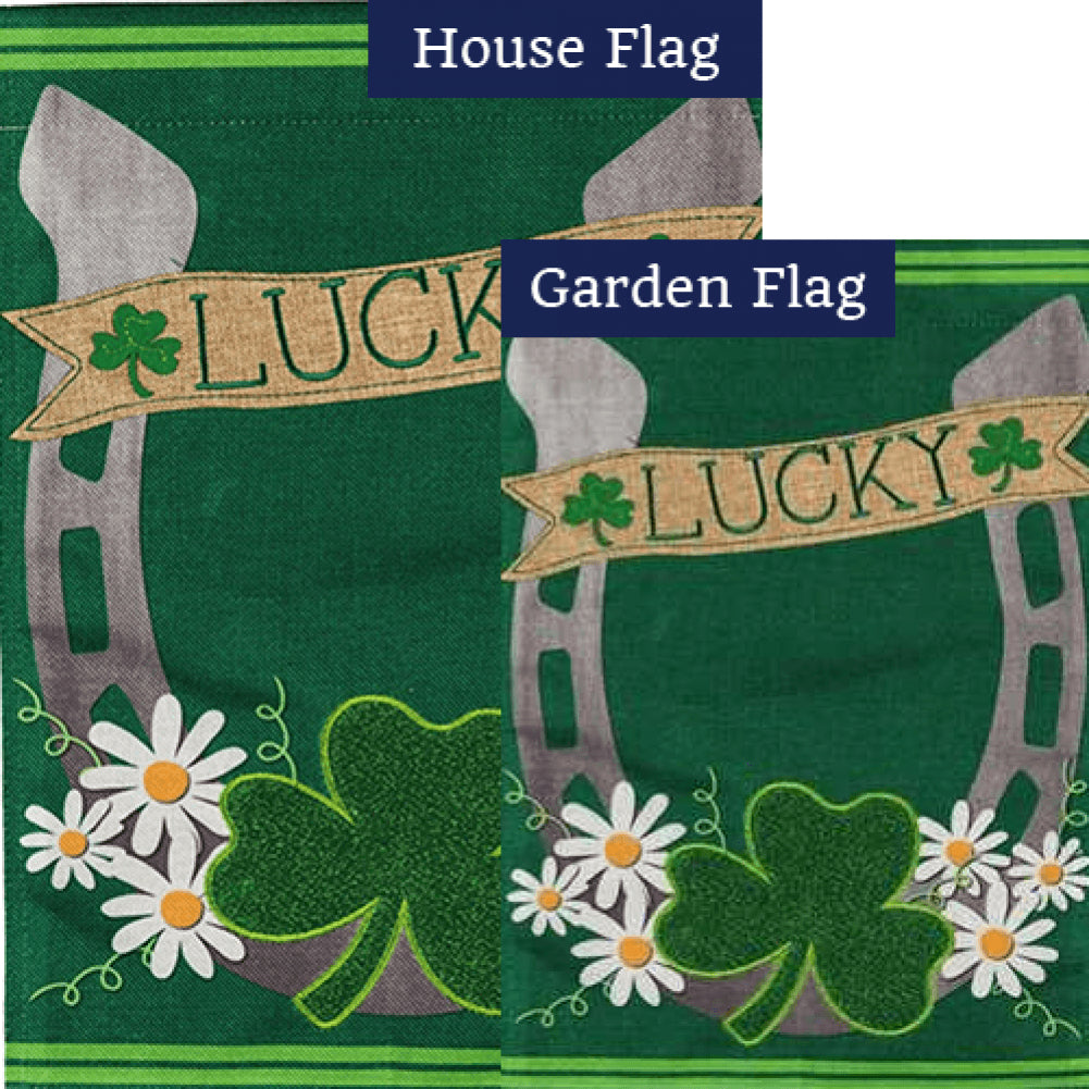 Lucky Horse Shoe Burlap Flags Set (2 Pieces)
