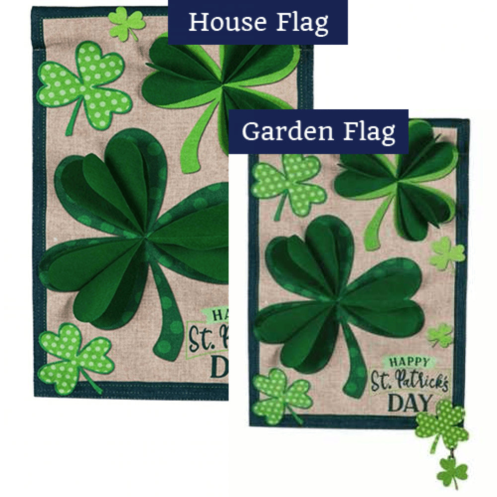 Shamrocks Burlap Flags Set (2 Pieces)