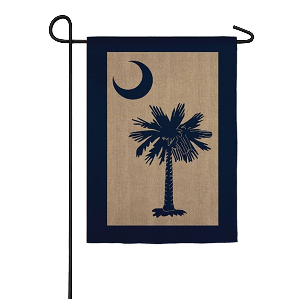 South Carolina Palmetto Burlap Garden Flag