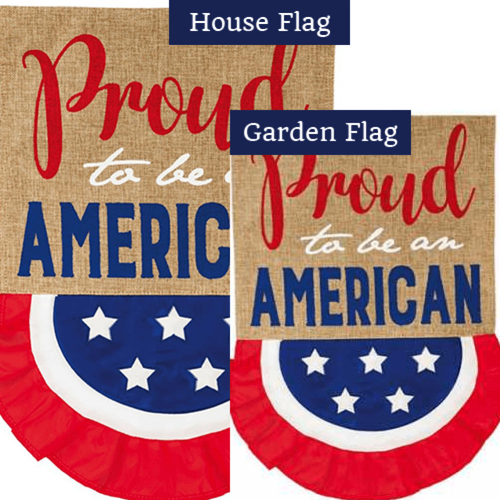 Proud to Be An American Bunting Burlap Flags Set (2 Pieces)