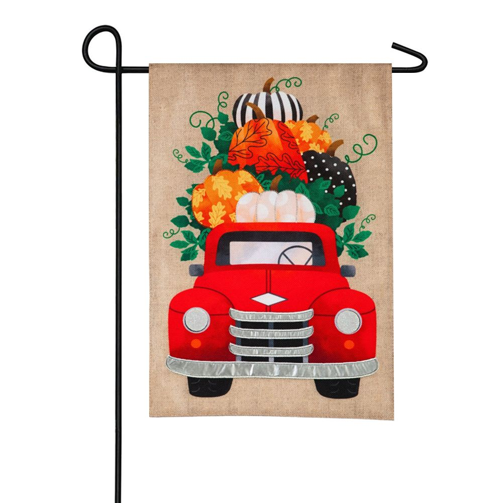 Fall Pumpkins Red Truck Burlap Garden Flag