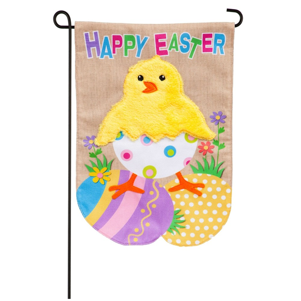 Easter Chick Burlap Garden Flag