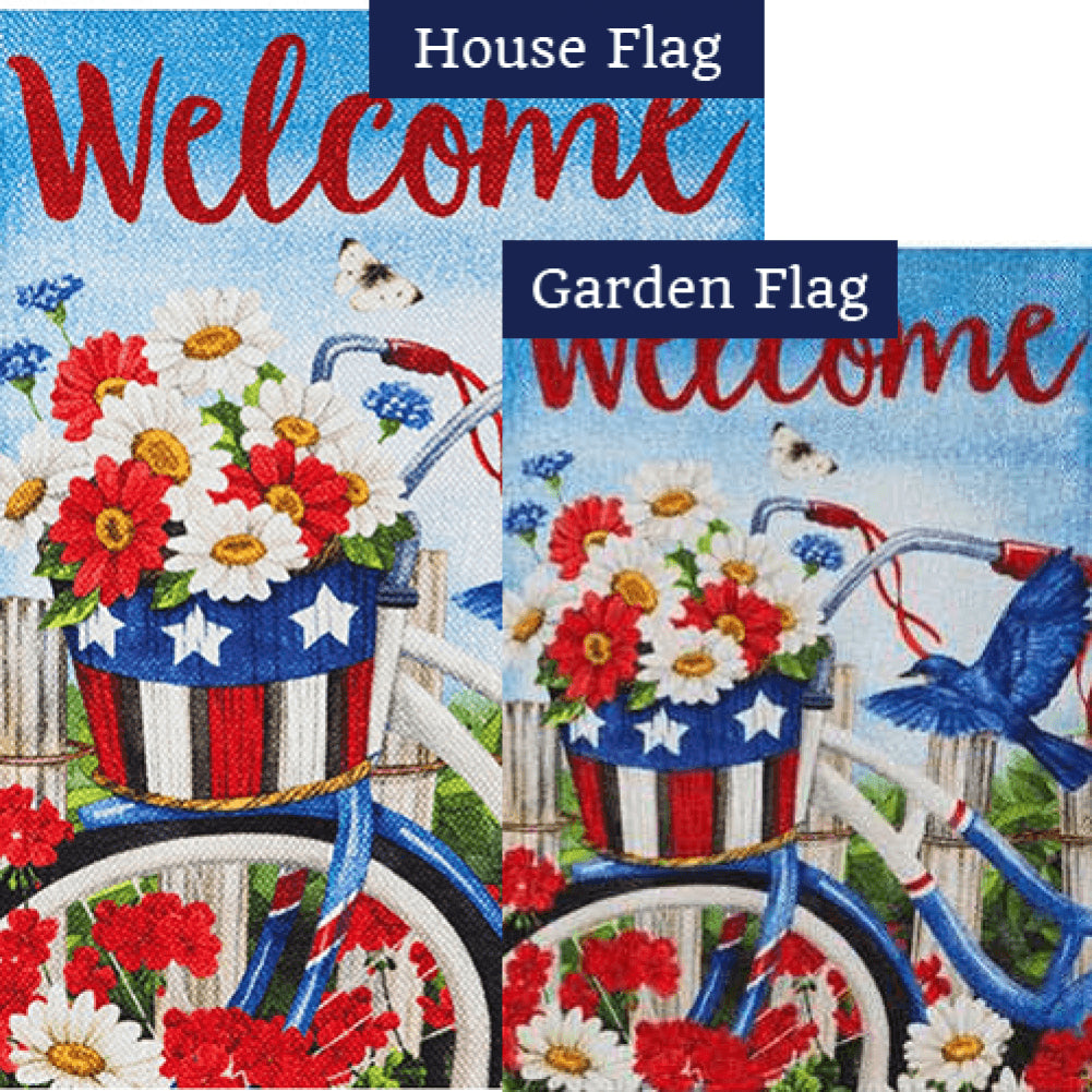 Patriotic Bicycle Flowers Double Sided Flags Set (2 Pieces)
