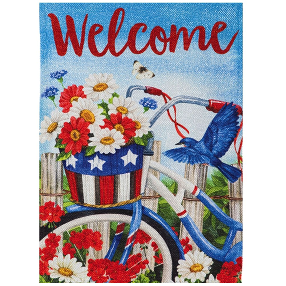 Patriotic Bicycle Flowers Double Sided Garden Flag