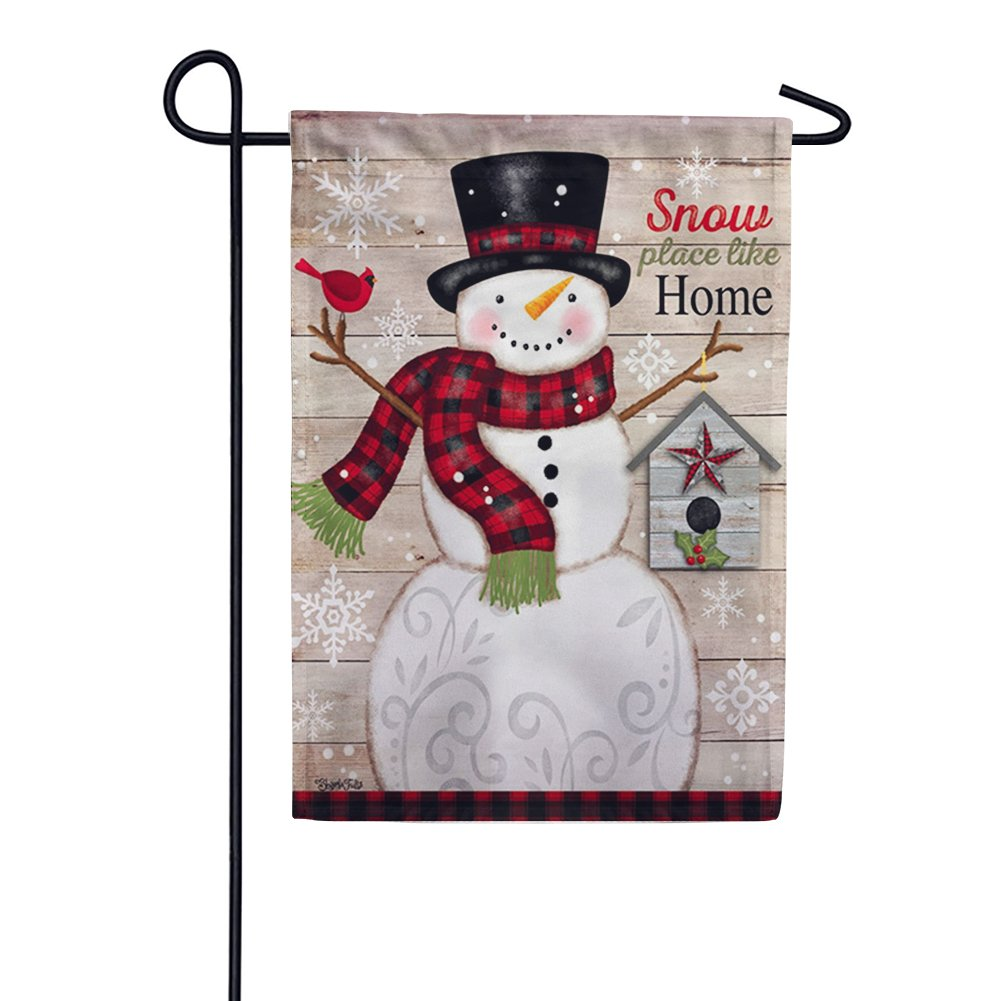 Snow Place Like Home Suede Garden Flag