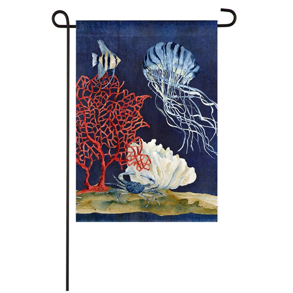 Deep Sea Coral Textured Suede Garden Flag