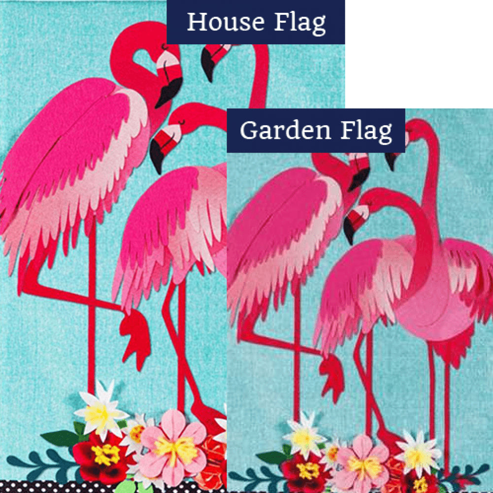Flamingo Garden Linen Flags Set (2 Pieces)