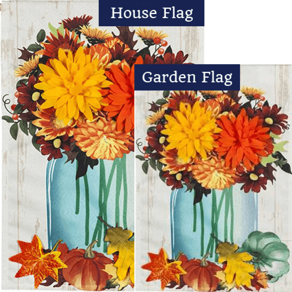 Fall Mums Floral Mason Jar Linen Double Sided Flags Set (2 Pieces)