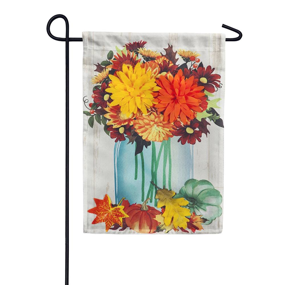Fall Mums Floral Mason Jar Linen Double Sided Garden Flag