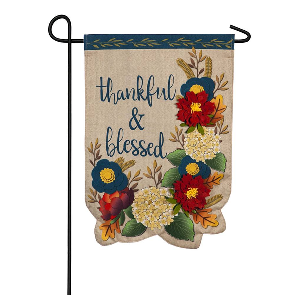 Thankful and Blessed Floral Linen Double Sided Garden Flag