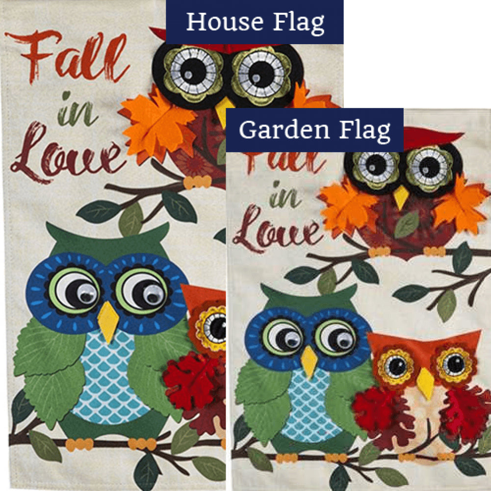 Autumn Owls Linen Double Sided Flags Set (2 Pieces)