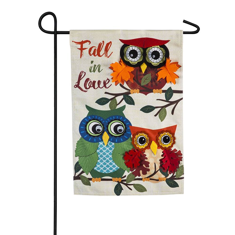 Autumn Owls Linen Double Sided Garden Flag