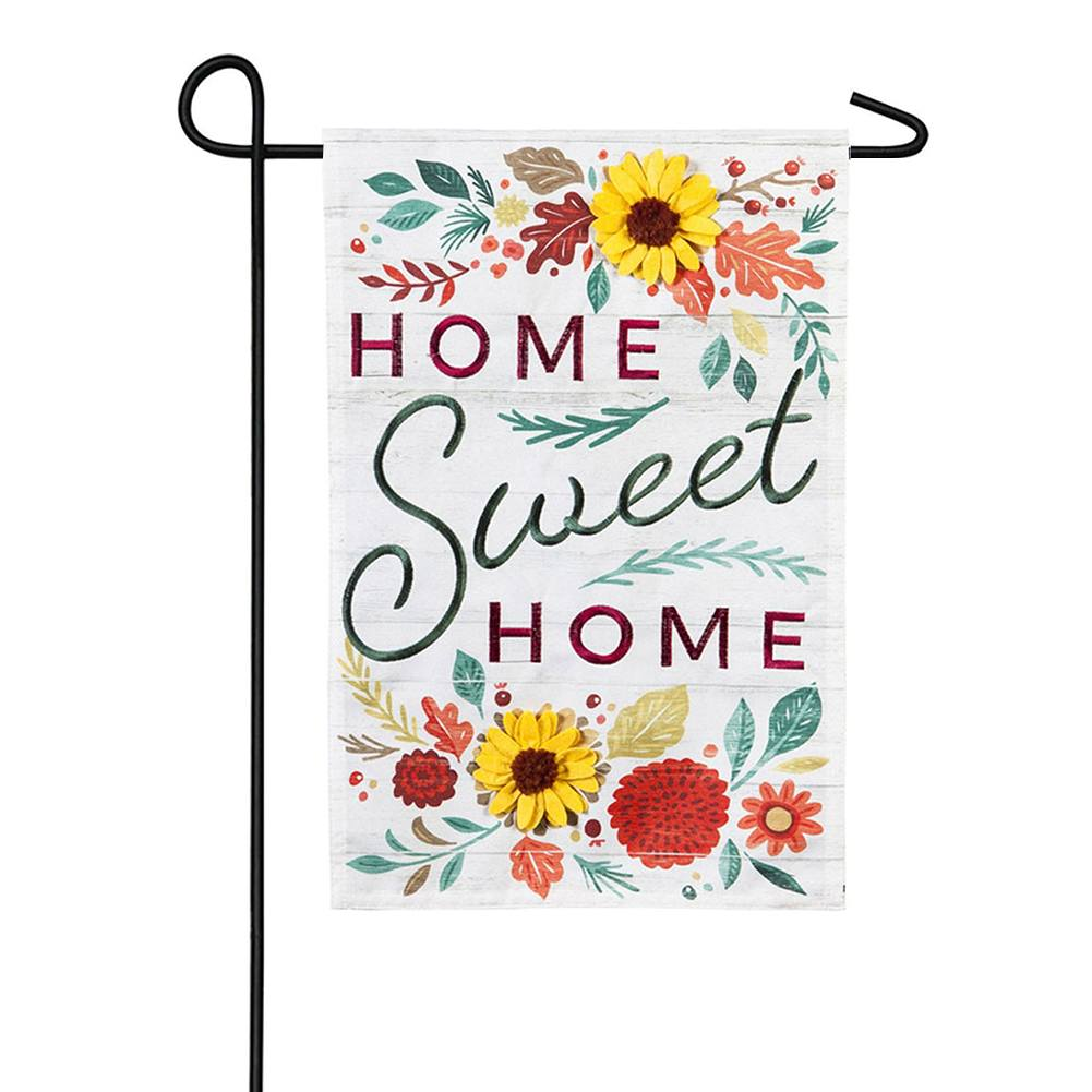 Home Sweet Home Flowers Linen Double Sided Garden Flag