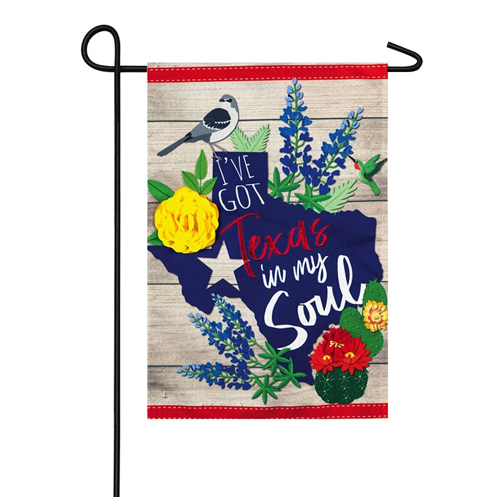 Texas In My Soul Linen Double Sided Garden Flag