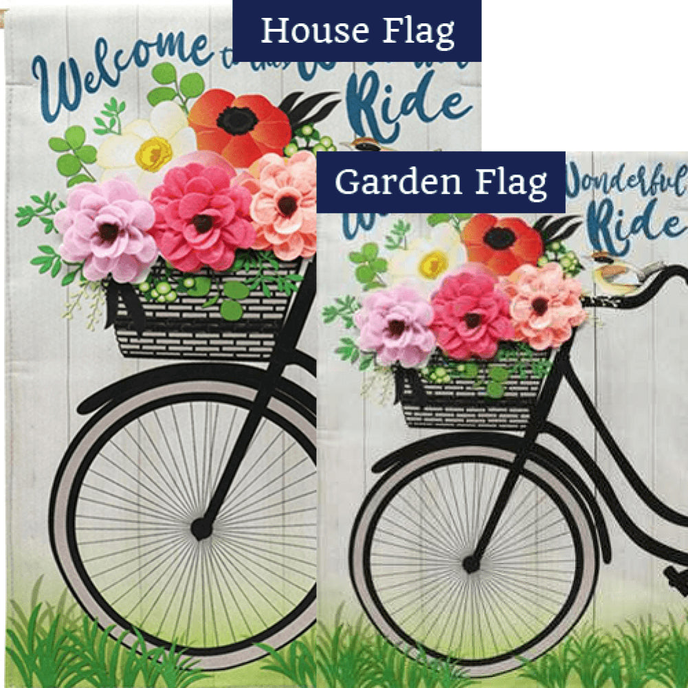 Wonderful Ride Linen Double Sided Flags Set (2 Pieces)