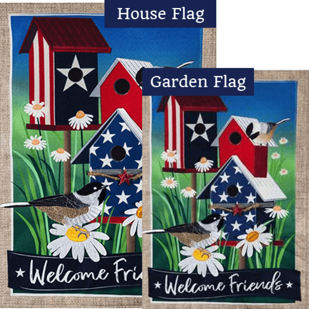 Patriotic Birdhouse Welcome Friends Burlap Flags Set (2 Pieces)
