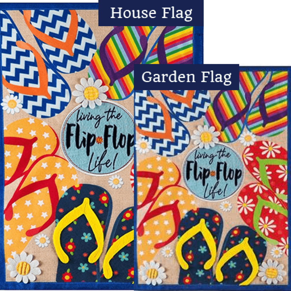 Flip Flop Life Summer Linen Double Sided Flags Set (2 Pieces)