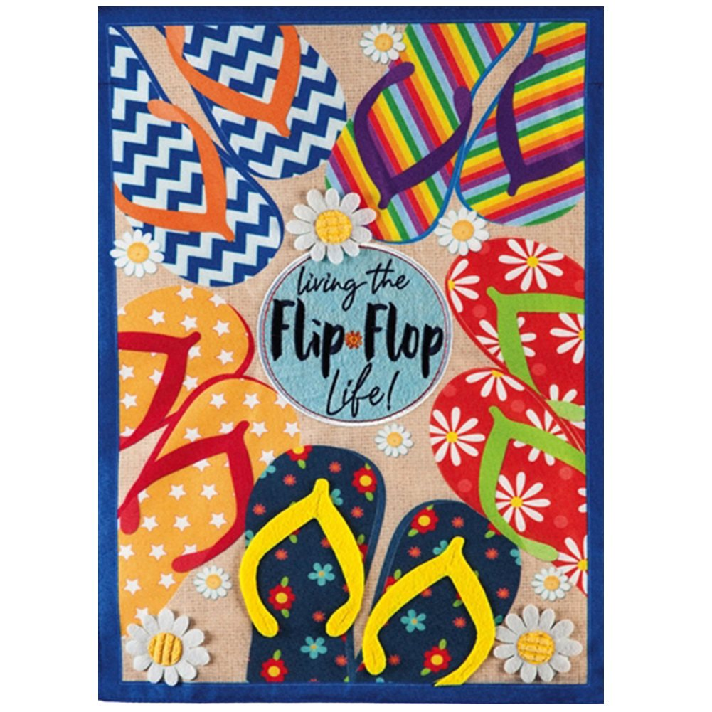 Flip Flop Life Summer Linen Double Sided Garden Flag