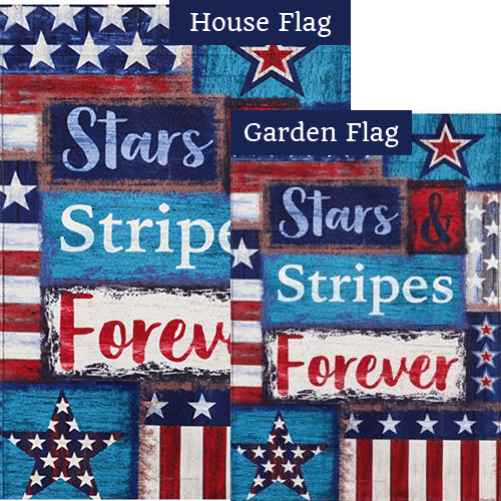 Stars and Stripes Forever Burlap Double Sided Flags Set (2 Pieces)