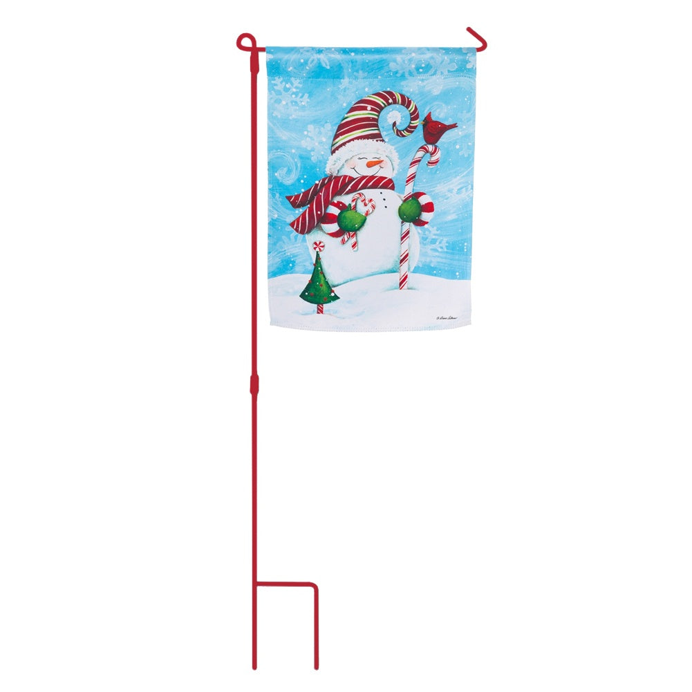 Candy Cane Snowman Flag With Stand