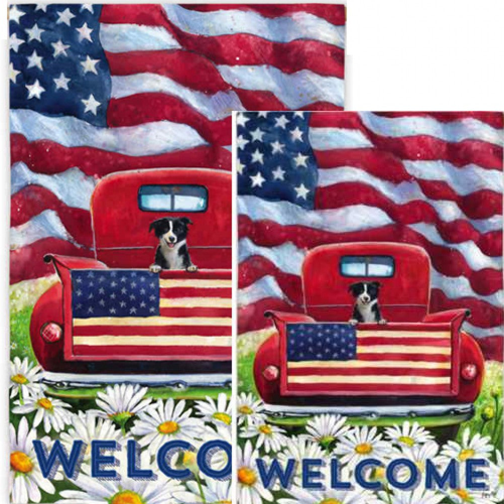 Patriotic Pup Truck Welcome Flags Set (2 Pieces)
