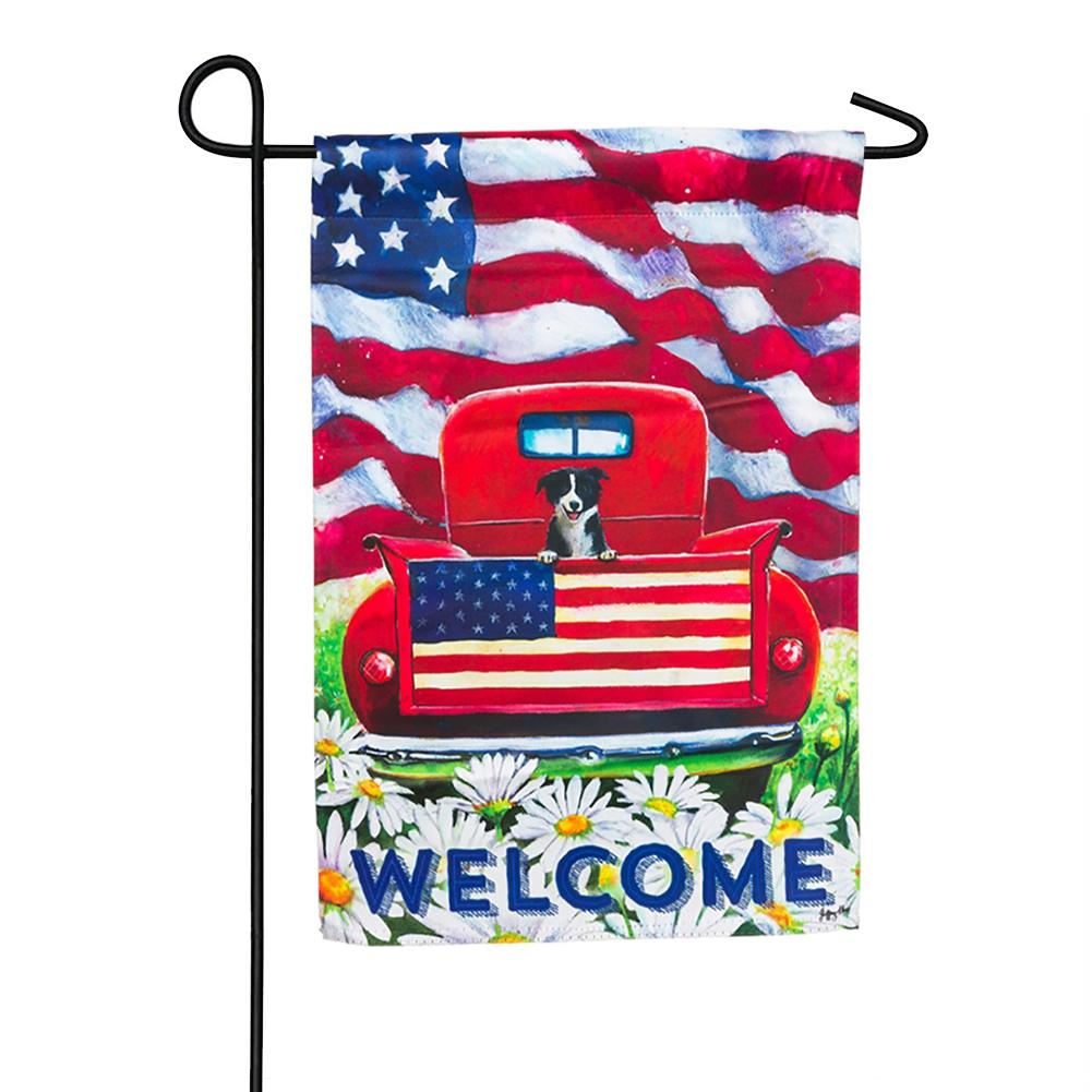 Patriotic Pup Truck Welcome Garden Flag