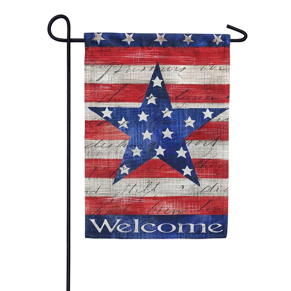 Patriotic Stripe And Star Welcome Double Sided Garden Flag