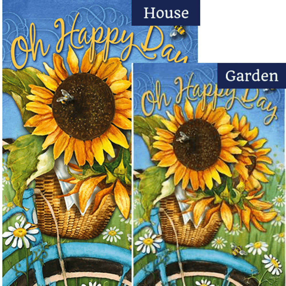 Happy Day Sunflowers Flags Set (2 Pieces)