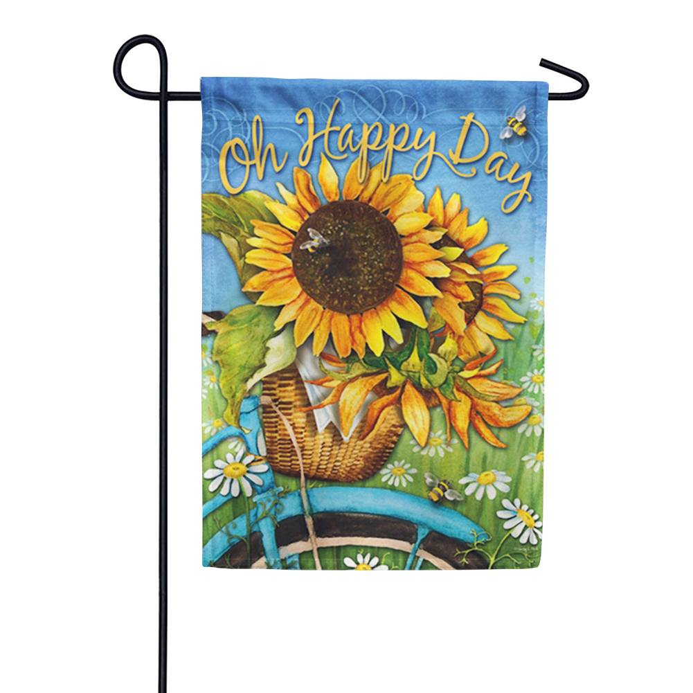 Happy Day Sunflowers Garden Flag