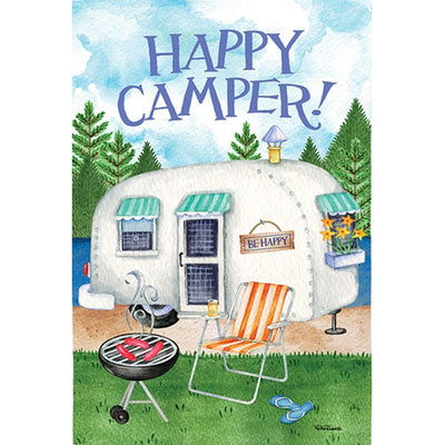 Happy Camper Grill Double Sided Garden Flag